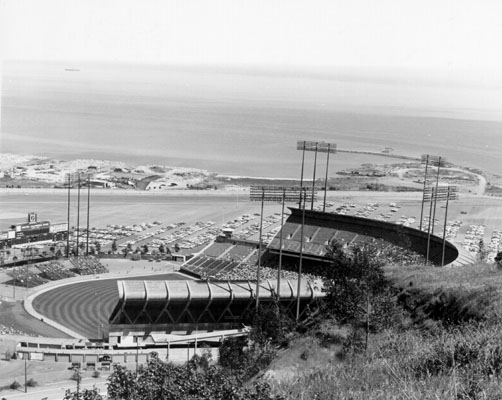 Candlestick Park, showing parking lot and view of Bay