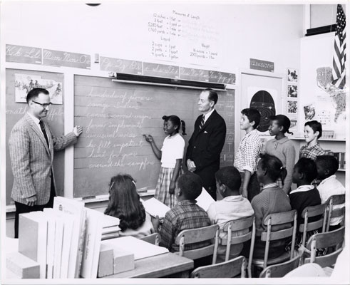 Students and instructors in a class at Hunters Point II Elementary School
